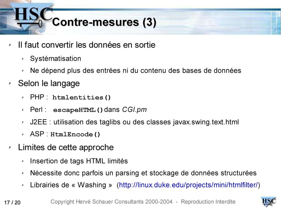 pm J2EE : utilisation des taglibs ou des classes javax.swing.text.