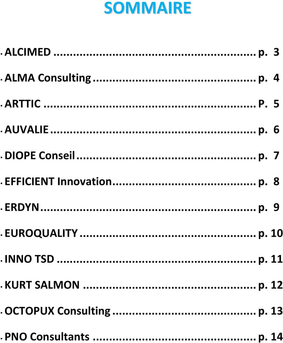 .. p. 9 EUROQUALITY... p. 10 INNO TSD... p. 11 KURT SALMON... p. 12 OCTOPUX Consulting.