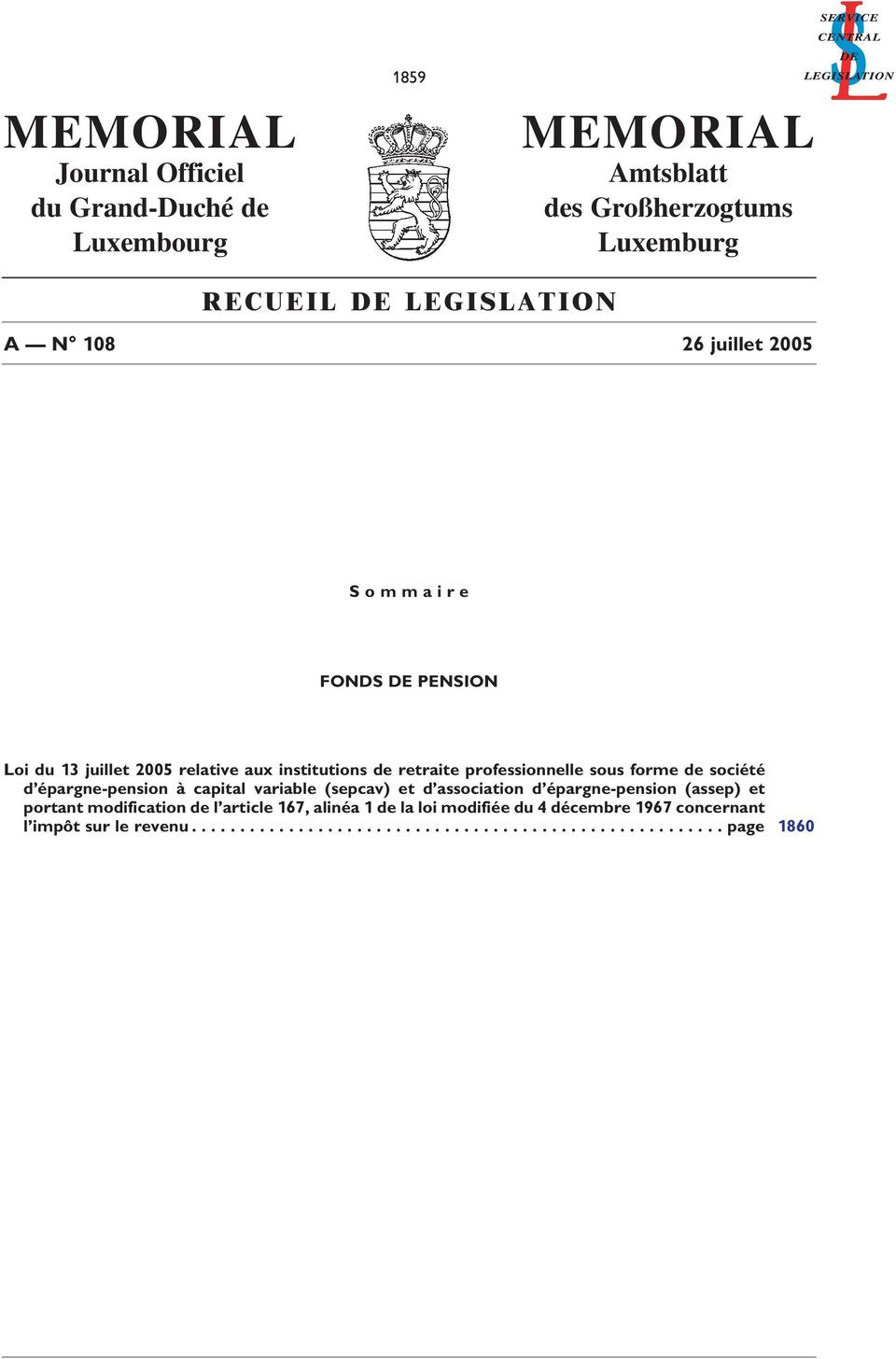 société d épargne-pension à capital variable (sepcav) et d association d épargne-pension (assep) et portant modification de l article 167,