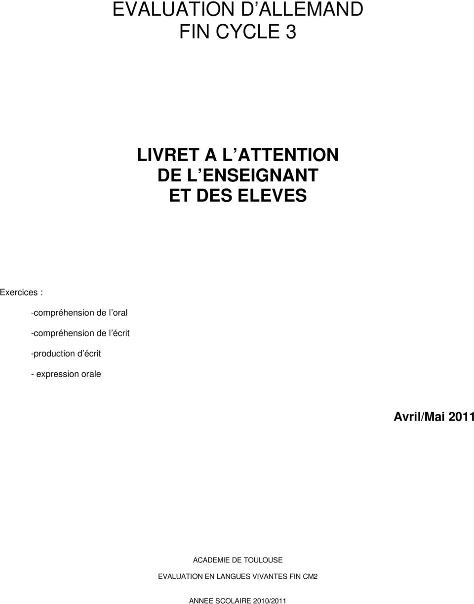 Evaluation D Allemand Fin Cycle 3 Pdf
