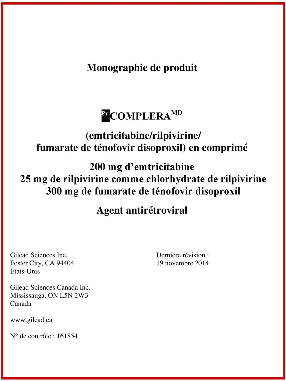 disoproxil Agent antirétroviral Gilead Sciences Inc.