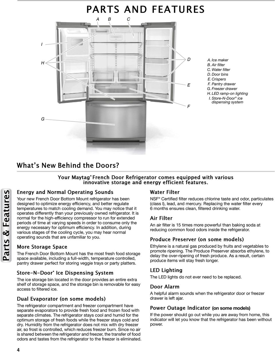Parts & Features Energy and Normal Operating Sounds Your new French Door Bottom Mount refrigerator has been designed to optimize energy efficiency, and better regulate temperatures to match cooling