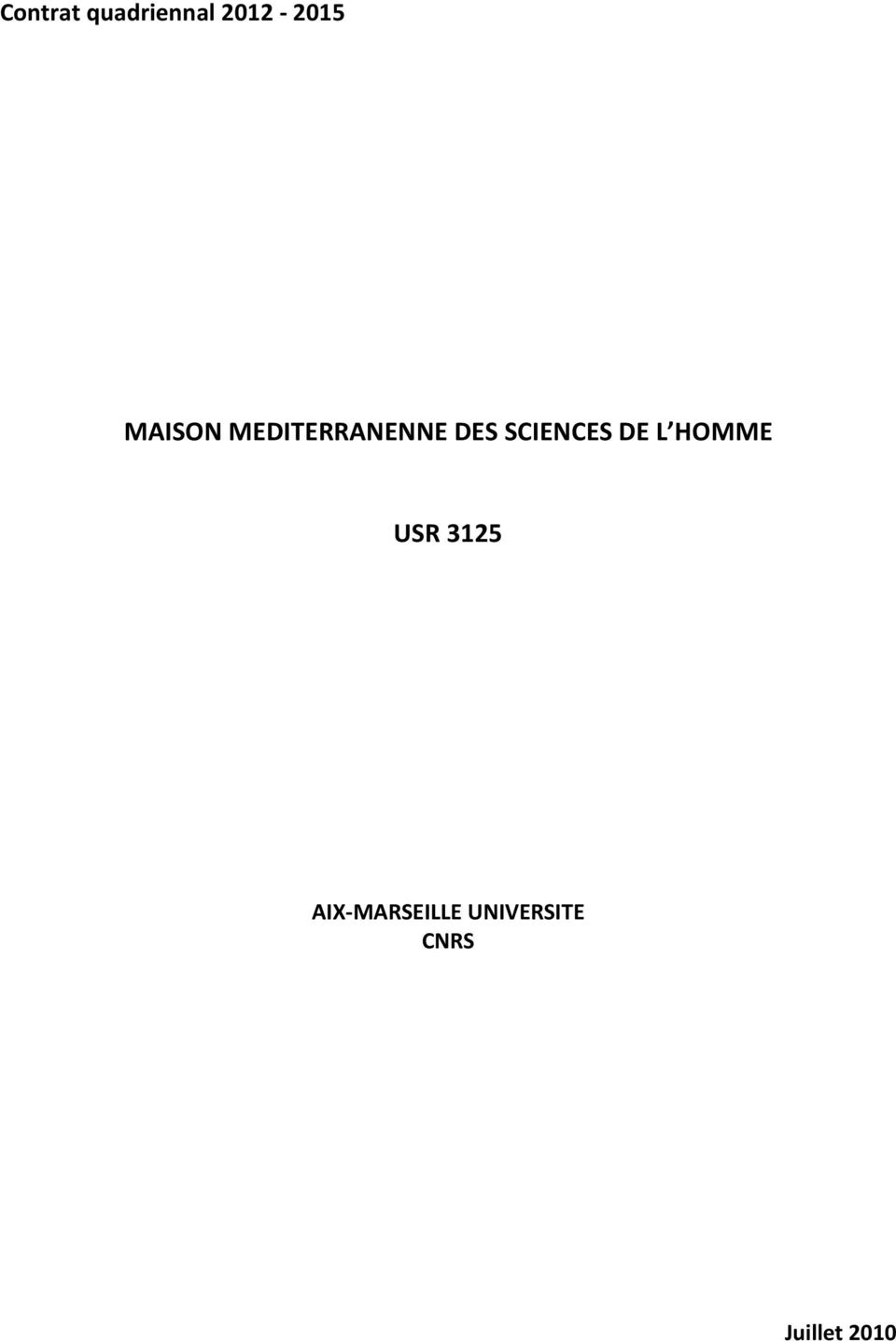 SCIENCES DE L HOMME USR 3125