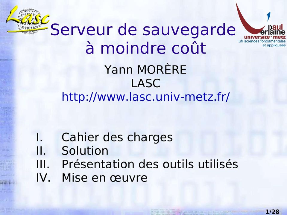 fr/ I. Cahier des charges II. Solution III.
