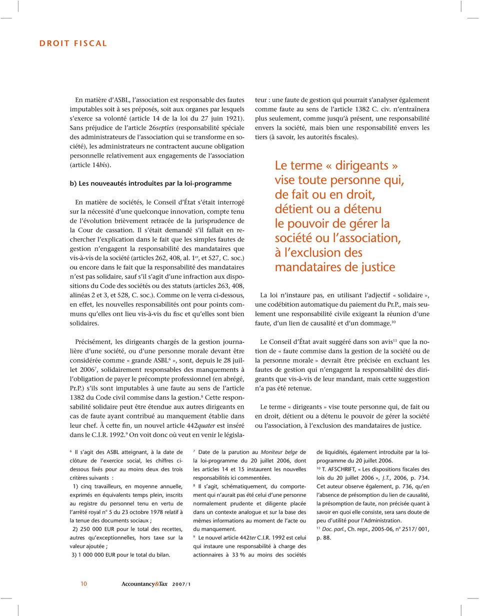 relativement aux engagements de l association (article 14bis).
