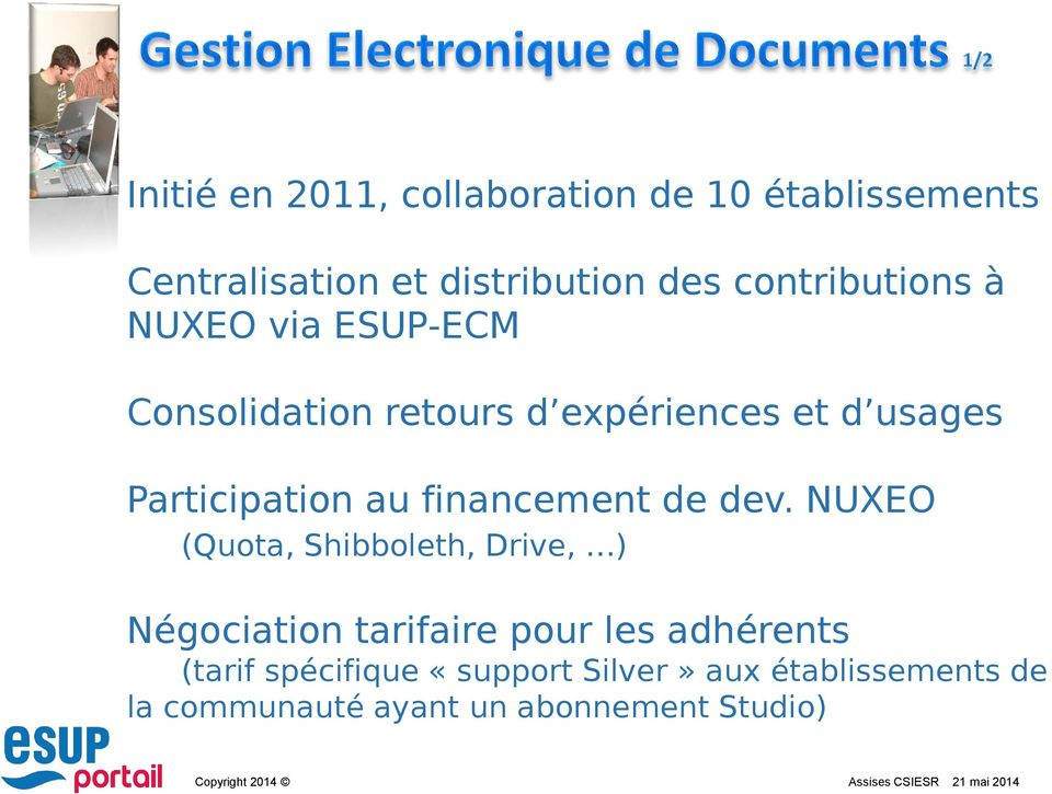 Participation au financement de dev.
