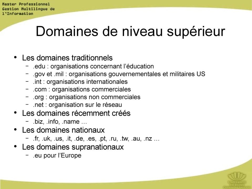 com : organisations commerciales.org : organisations non commerciales.