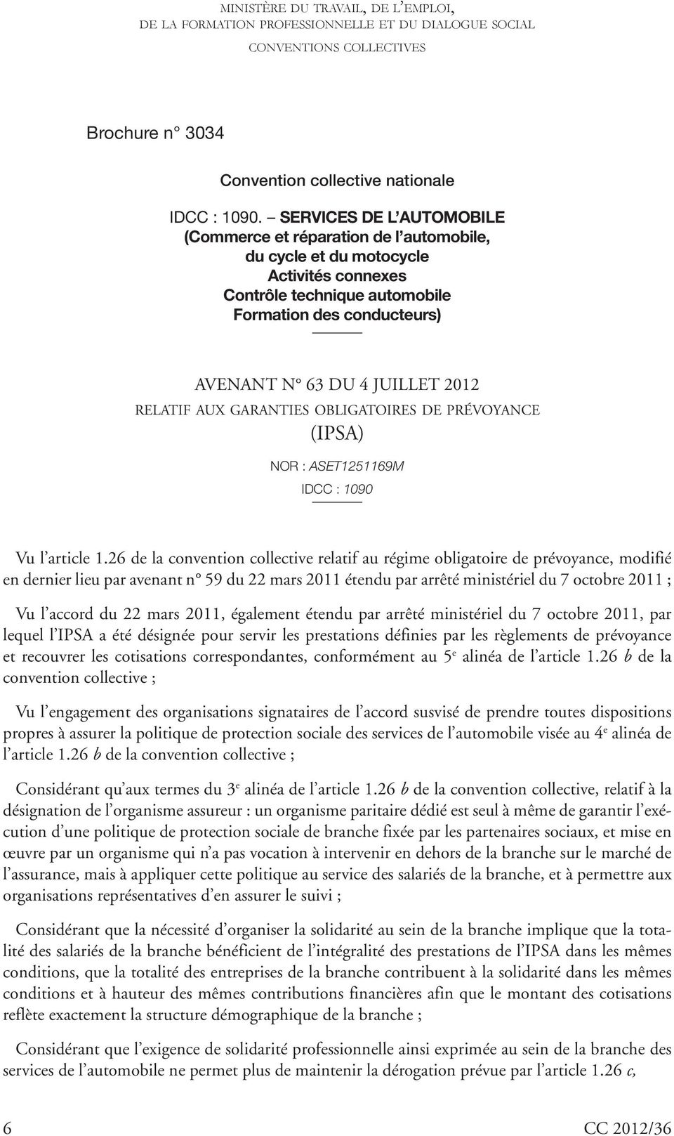 2012 36 29 Septembre 2012 B Ulletin Officiel Conventions Collectives