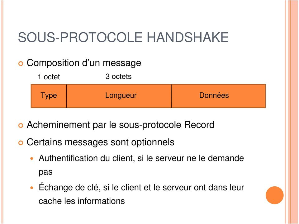 messages sont optionnels Authentification du client, si le serveur ne le