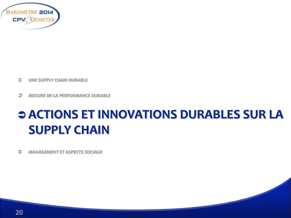 INNOVATIONS DURABLES SUR LA SUPPLY