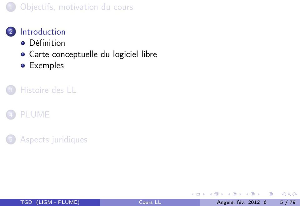 Exemples 3 Histoire des LL 4 PLUME 5 Aspects