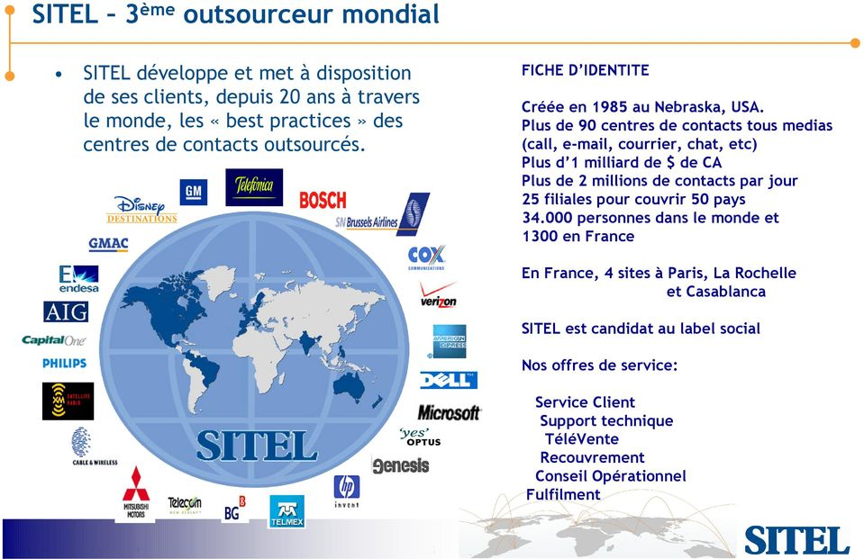 Plus de 90 centres de contacts tous medias (call, e-mail, courrier, chat, etc) Plus d 1 milliard de $ de CA Plus de 2 millions de contacts par jour 25 filiales pour