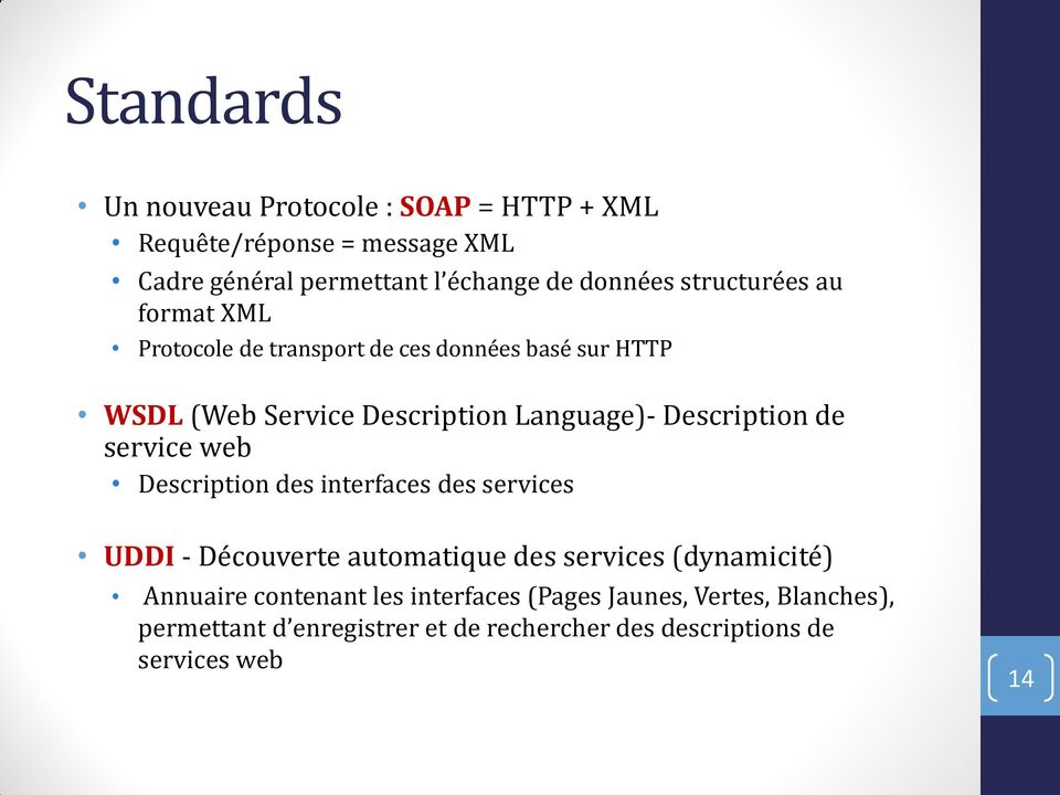 Description de service web Description des interfaces des services UDDI - Découverte automatique des services (dynamicité)