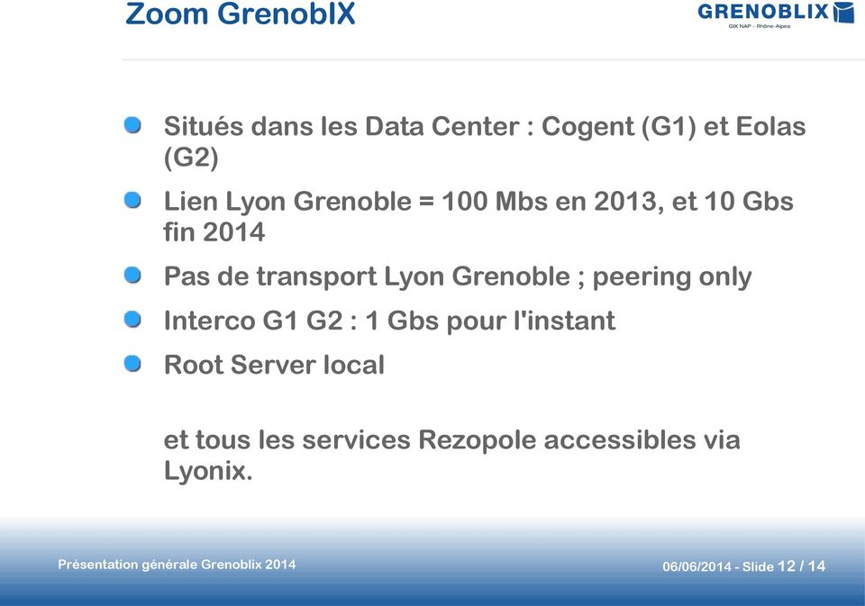 peering only Interco G1 G2 : 1 Gbs pour l'instant Root Server local et tous les