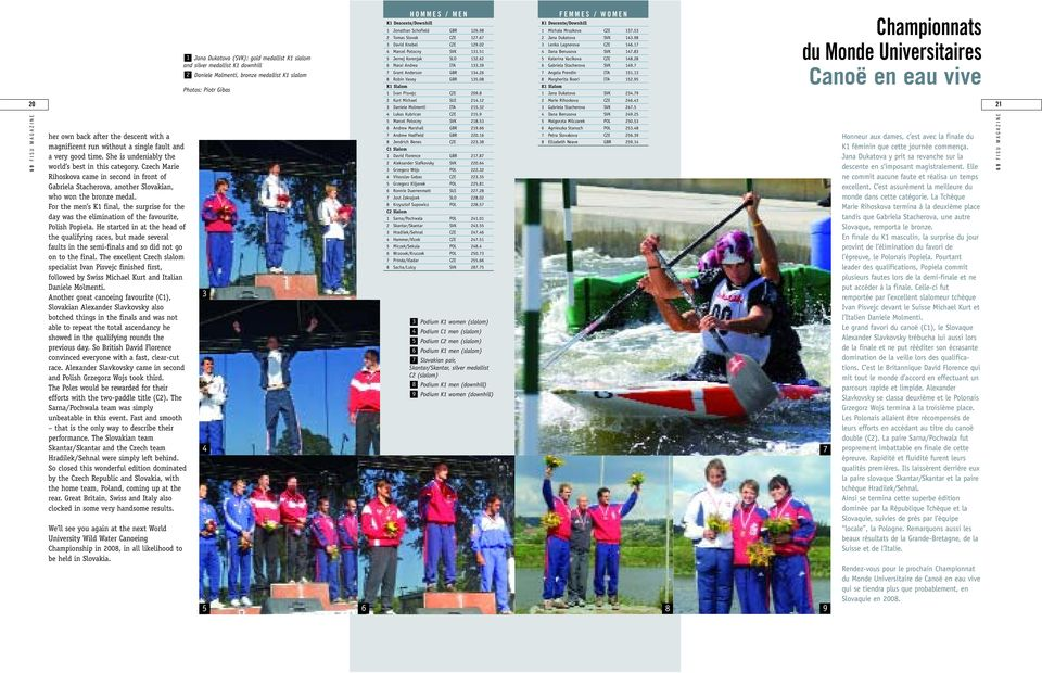 For the men s K1 final, the surprise for the day was the elimination of the favourite, Polish Popiela.