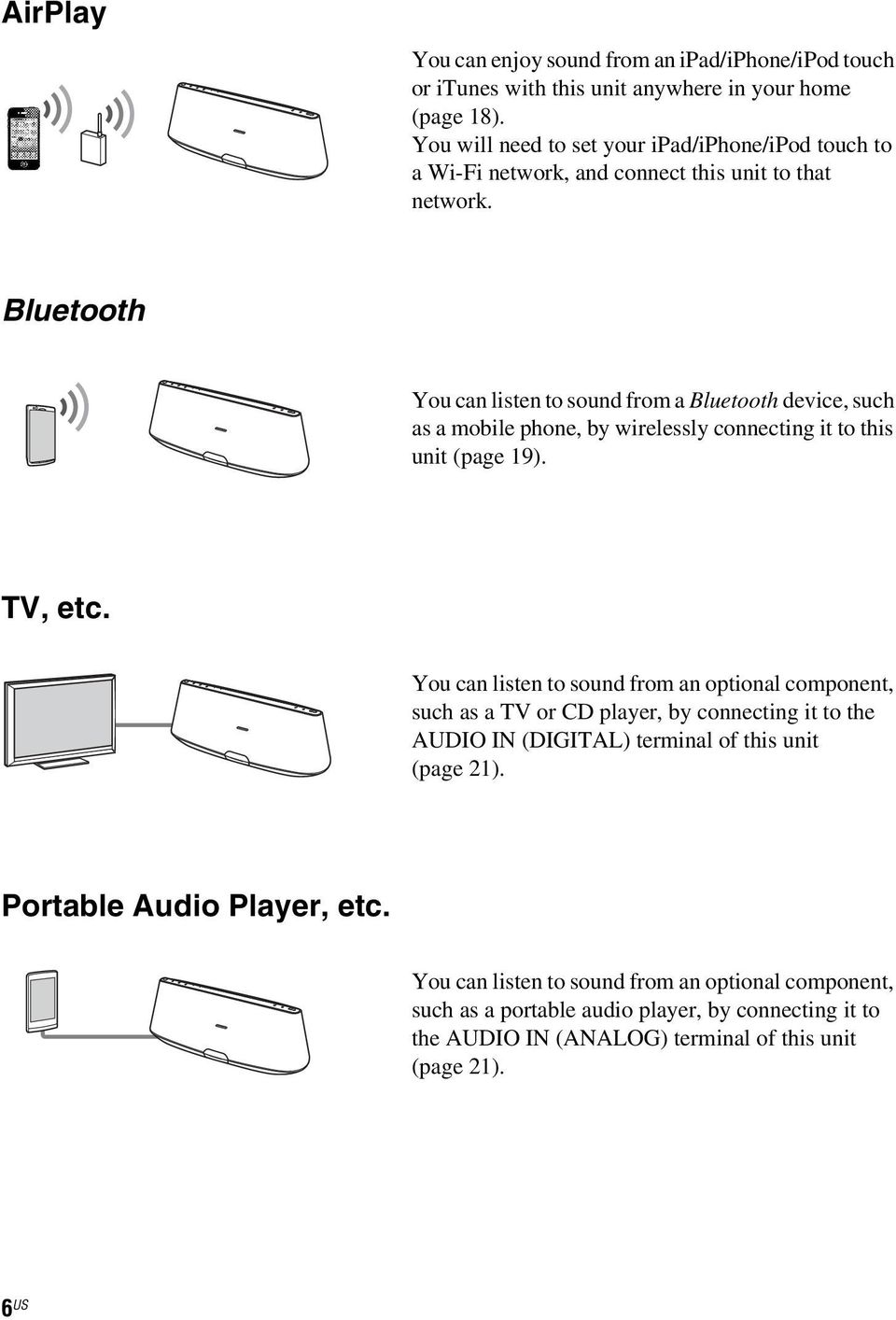 Bluetooth You can listen to sound from a Bluetooth device, such as a mobile phone, by wirelessly connecting it to this unit (page 19). TV, etc.