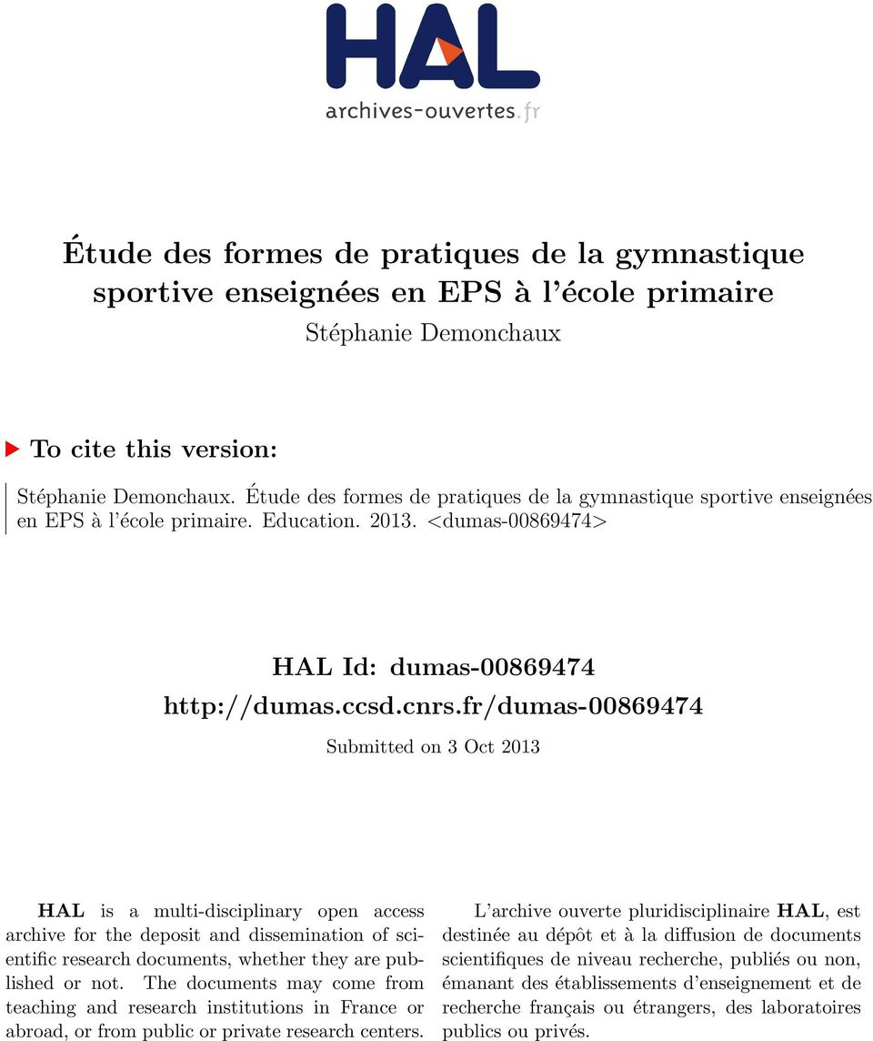 fr/dumas-00869474 Submitted on 3 Oct 2013 HAL is a multi-disciplinary open access archive for the deposit and dissemination of scientific research documents, whether they are published or not.
