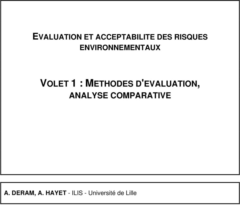 D'EVALUATION, ANALYSE COMPARATIVE A.
