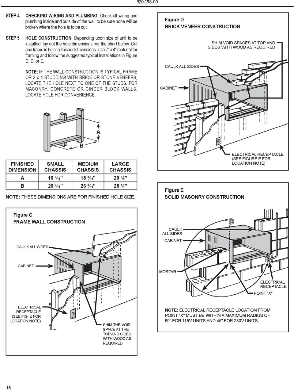 "Use 2"" x 4"" material for framing and follow the suggested typical installations in Figure C, D, or E."