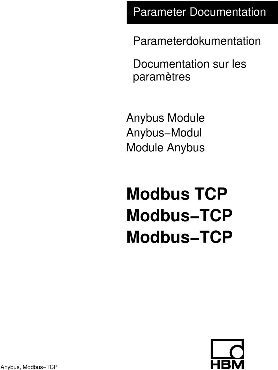 les paramètres Anybus Module Anybus Modul