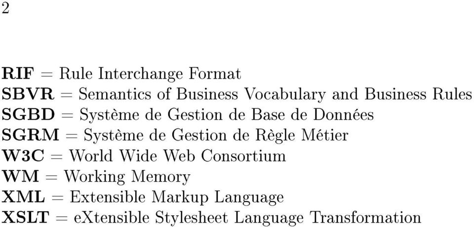 Gestion de Règle Métier W3C = World Wide Web Consortium WM = Working Memory