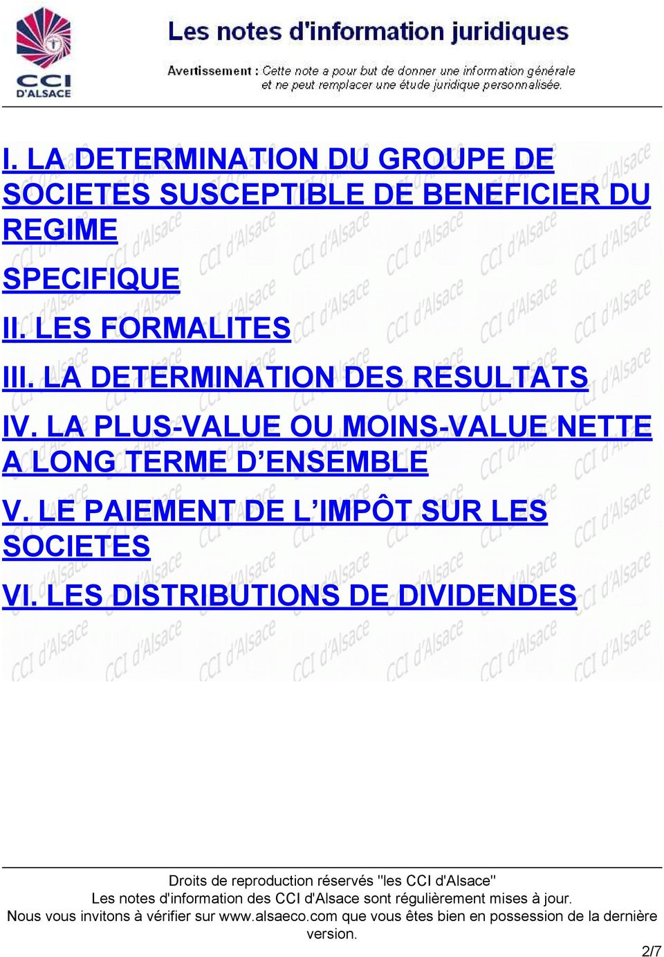 LA DETERMINATION DES RESULTATS IV.