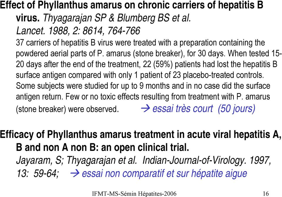 When tested 15-20 days after the end of the treatment, 22 (59%) patients had lost the hepatitis B surface antigen compared with only 1 patient of 23 placebo-treated controls.