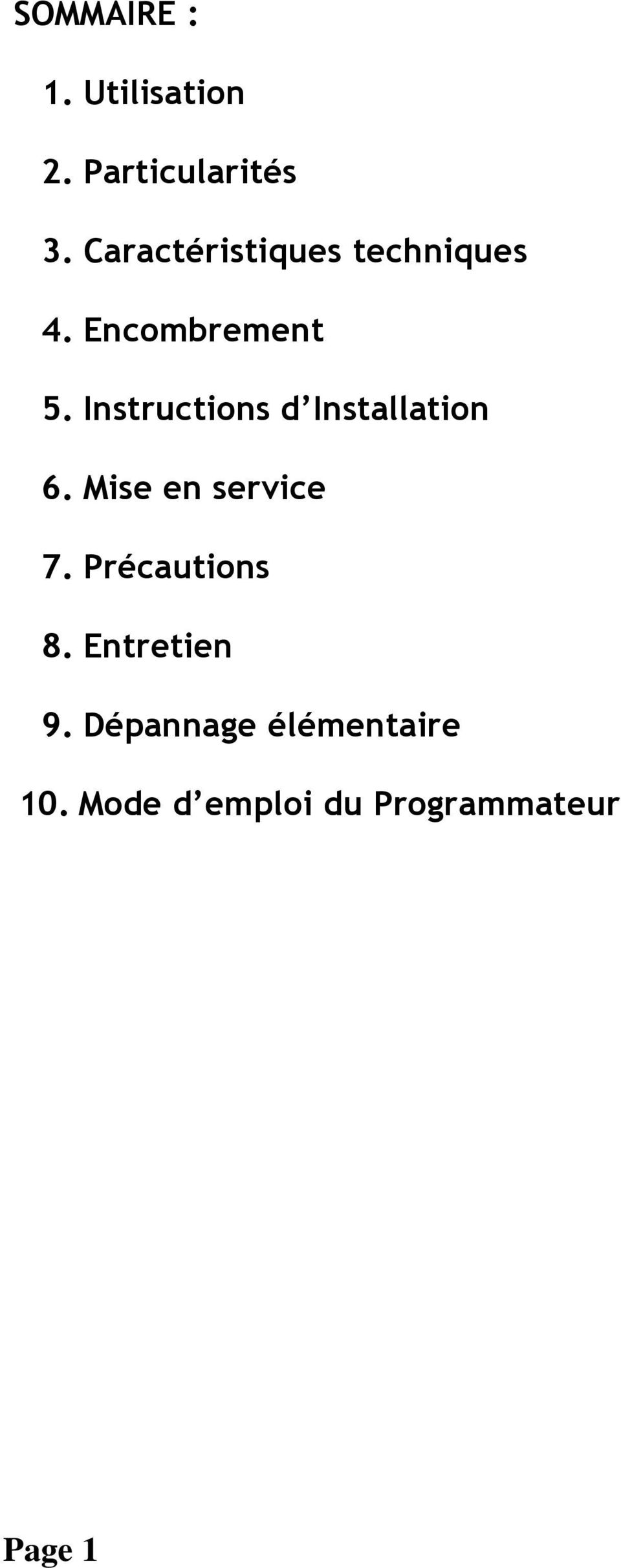 Instructions d Installation 6. Mise en service 7.