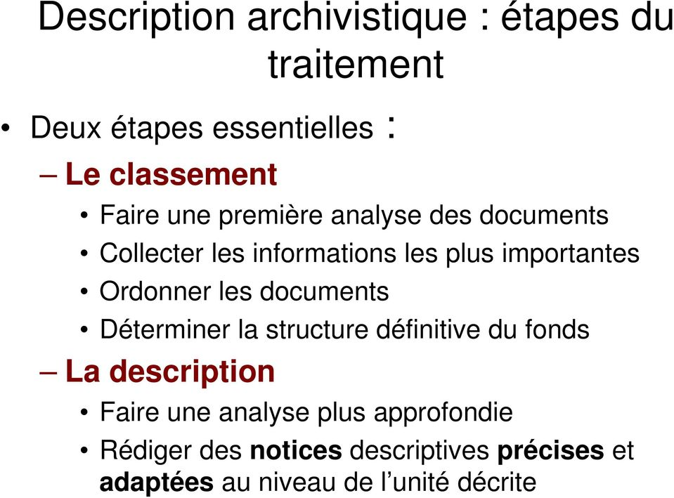 Ordonner les documents Déterminer la structure définitive du fonds La description Faire une