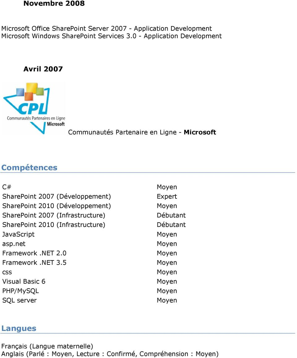 SharePoint 2010 (Développement) SharePoint 2007 (Infrastructure) Débutant SharePoint 2010 (Infrastructure) Débutant JavaScript asp.