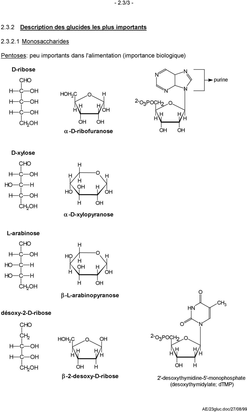 P 2 purine D-xylose 2 α -D-xylopyranose L-arabinose 2 β-l-arabinopyranose désoxy-2-d-ribose 3
