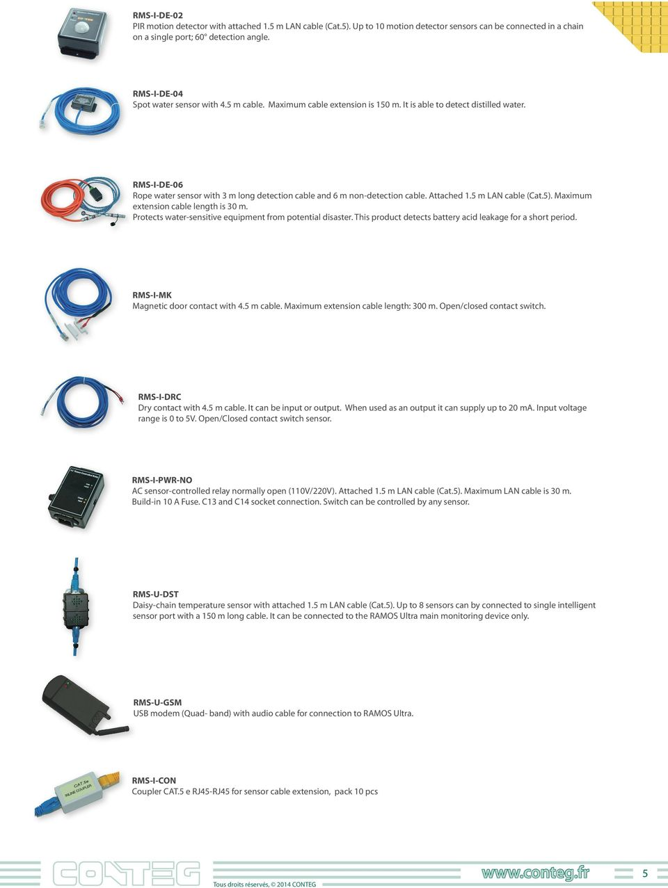 RMS-I-DE-06 Rope water sensor with 3 m long detection cable and 6 m non-detection cable. Attached.5 m LAN cable (Cat.5). Maximum extension cable length is 30 m.