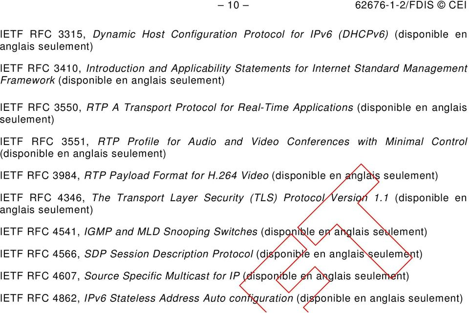 Audio and Video Conferences with Minimal Control (disponible en anglais seulement) IETF RFC 3984, RTP Payload Format for H.