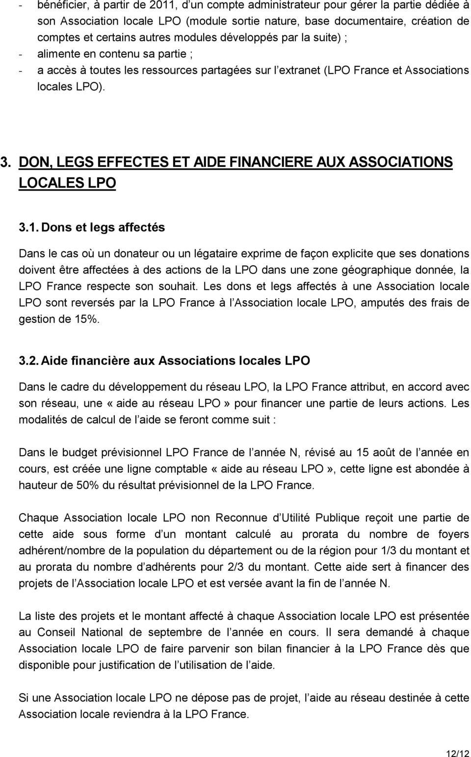 DON, LEGS EFFECTES ET AIDE FINANCIERE AUX ASSOCIATIONS LOCALES LPO 3.1.