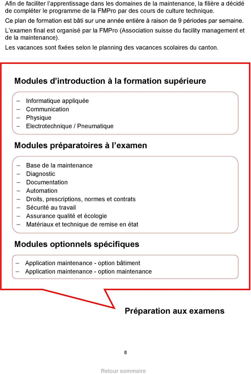 Modules d introduction à la formation supérieure Informatique appliquée Communication Physique Electrotechnique / Pneumatique Modules préparatoires à l examen Base de la maintenance Diagnostic