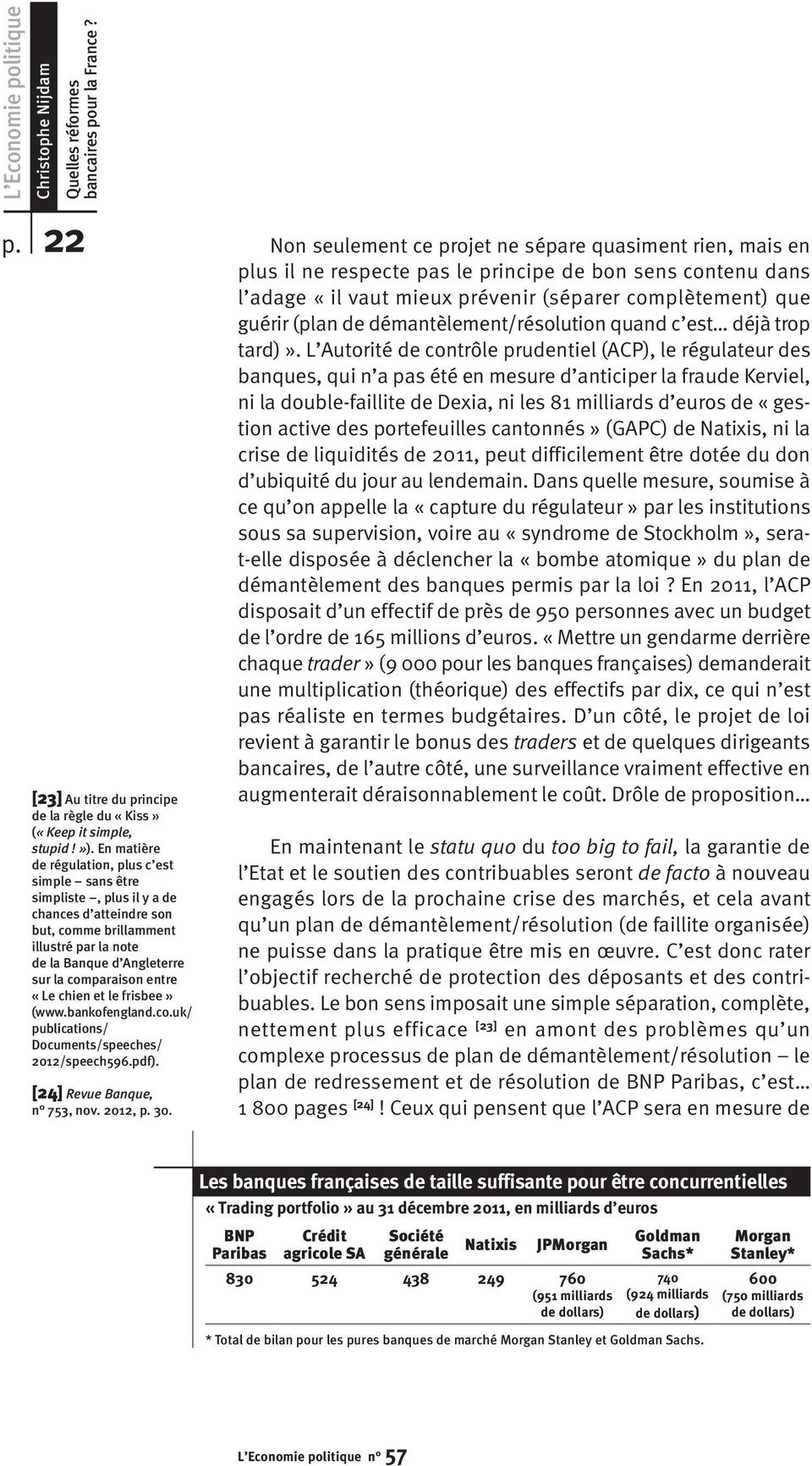 «Le chien et le frisbee» (www.bankofengland.co.uk/ publications/ Documents/speeches/ 2012/speech596.pdf). [24] Revue Banque, n 753, nov. 2012, p. 30.