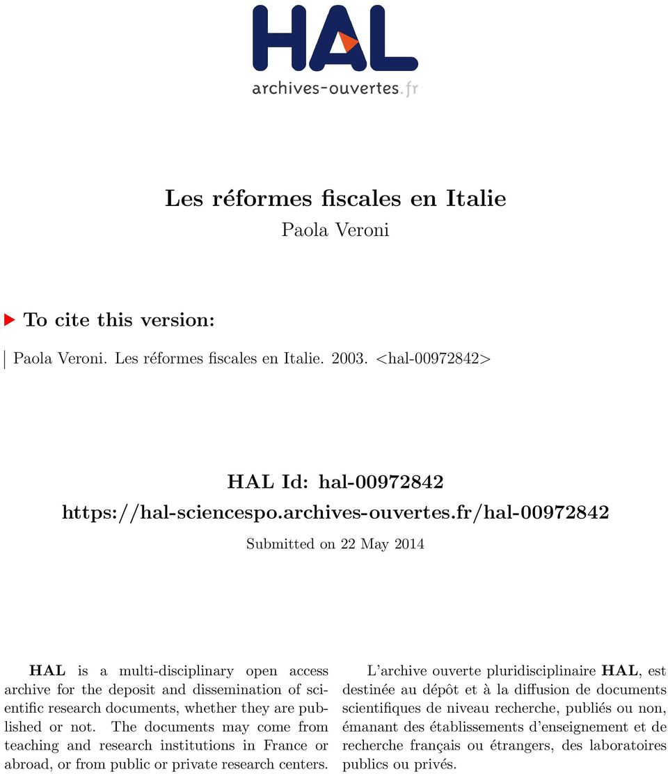 fr/hal-00972842 Submitted on 22 May 2014 HAL is a multi-disciplinary open access archive for the deposit and dissemination of scientific research documents, whether they are published or not.