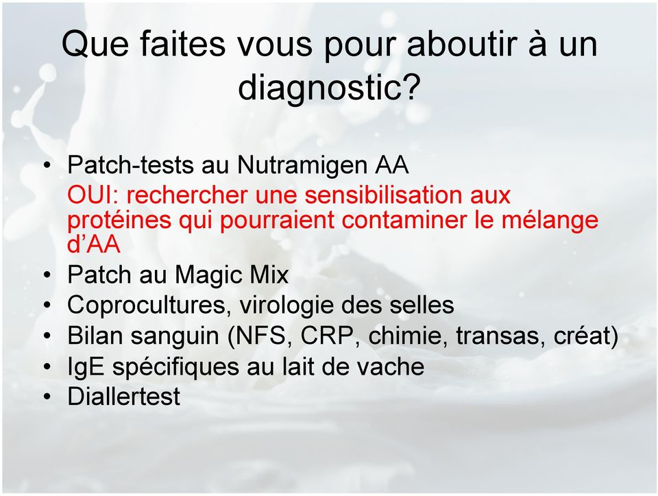 qui pourraient contaminer le mélange d AA Patch au Magic Mix Coprocultures,