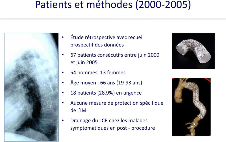 Âge moyen : 66 ans (19-93 ans) 18 patients (28.
