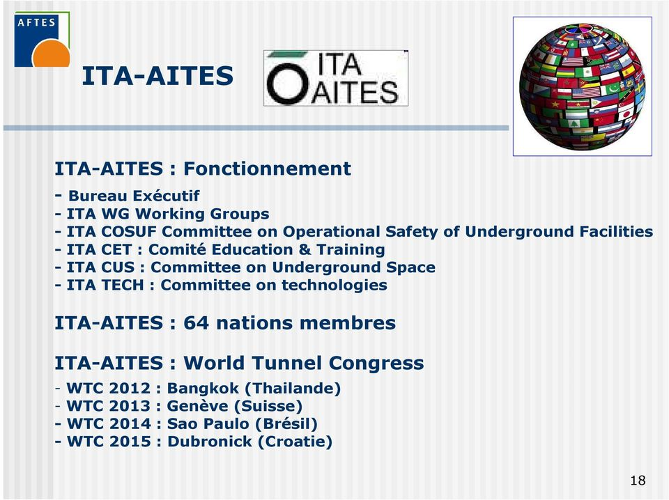 - ITA TECH : Committee on technologies ITA-AITES : 64 nations membres ITA-AITES : World Tunnel Congress - WTC 2012 :