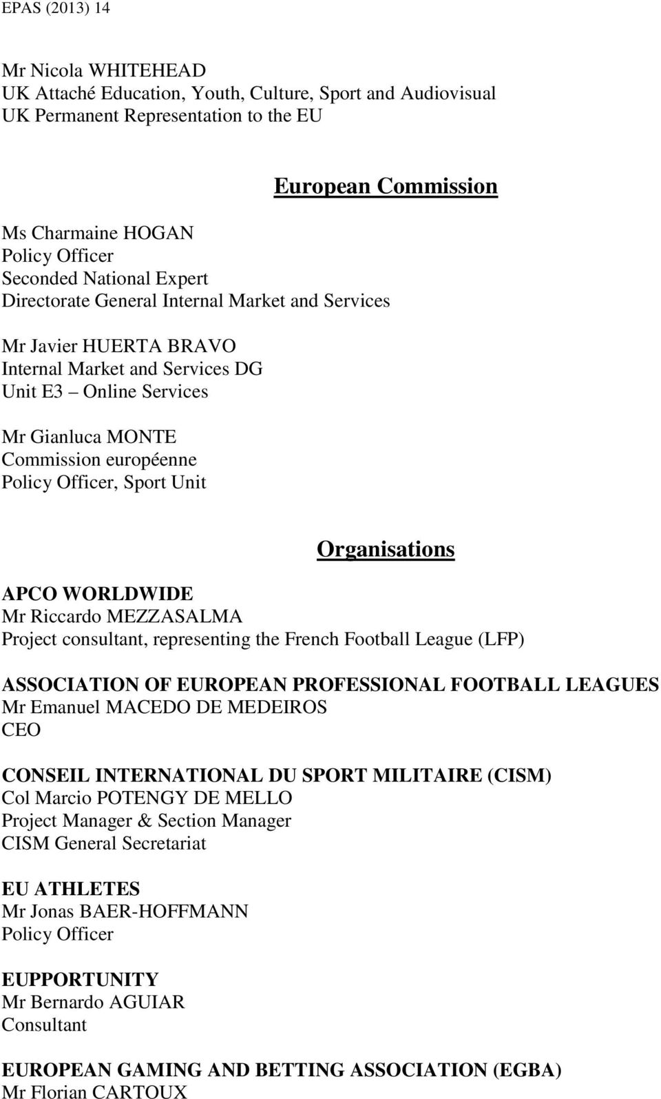 Organisations APCO WORLDWIDE Mr Riccardo MEZZASALMA Project consultant, representing the French Football League (LFP) ASSOCIATION OF EUROPEAN PROFESSIONAL FOOTBALL LEAGUES Mr Emanuel MACEDO DE