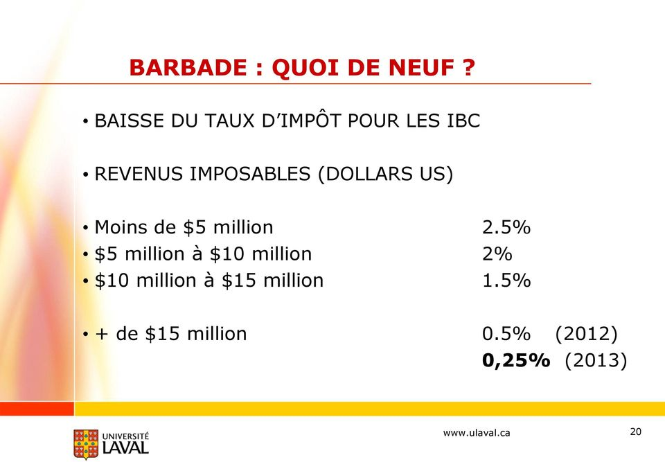 (DOLLARS US) Moins de $5 million 2.