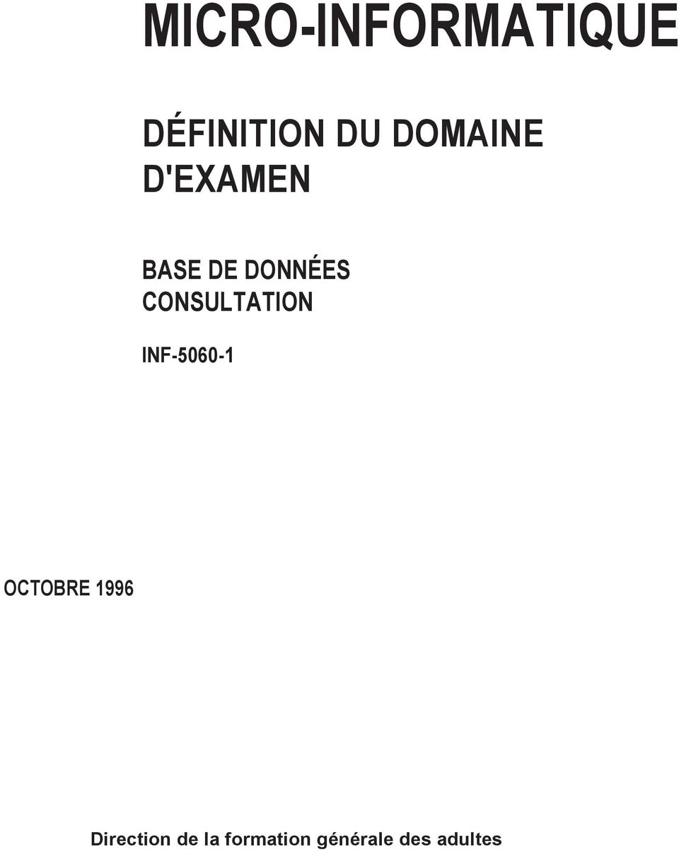 CONSULTATION INF-5060-1 OCTOBRE 1996