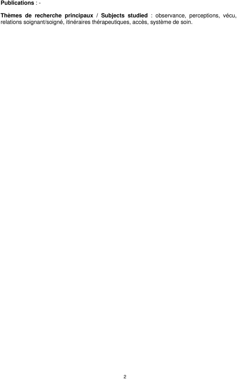 perceptions, vécu, relations