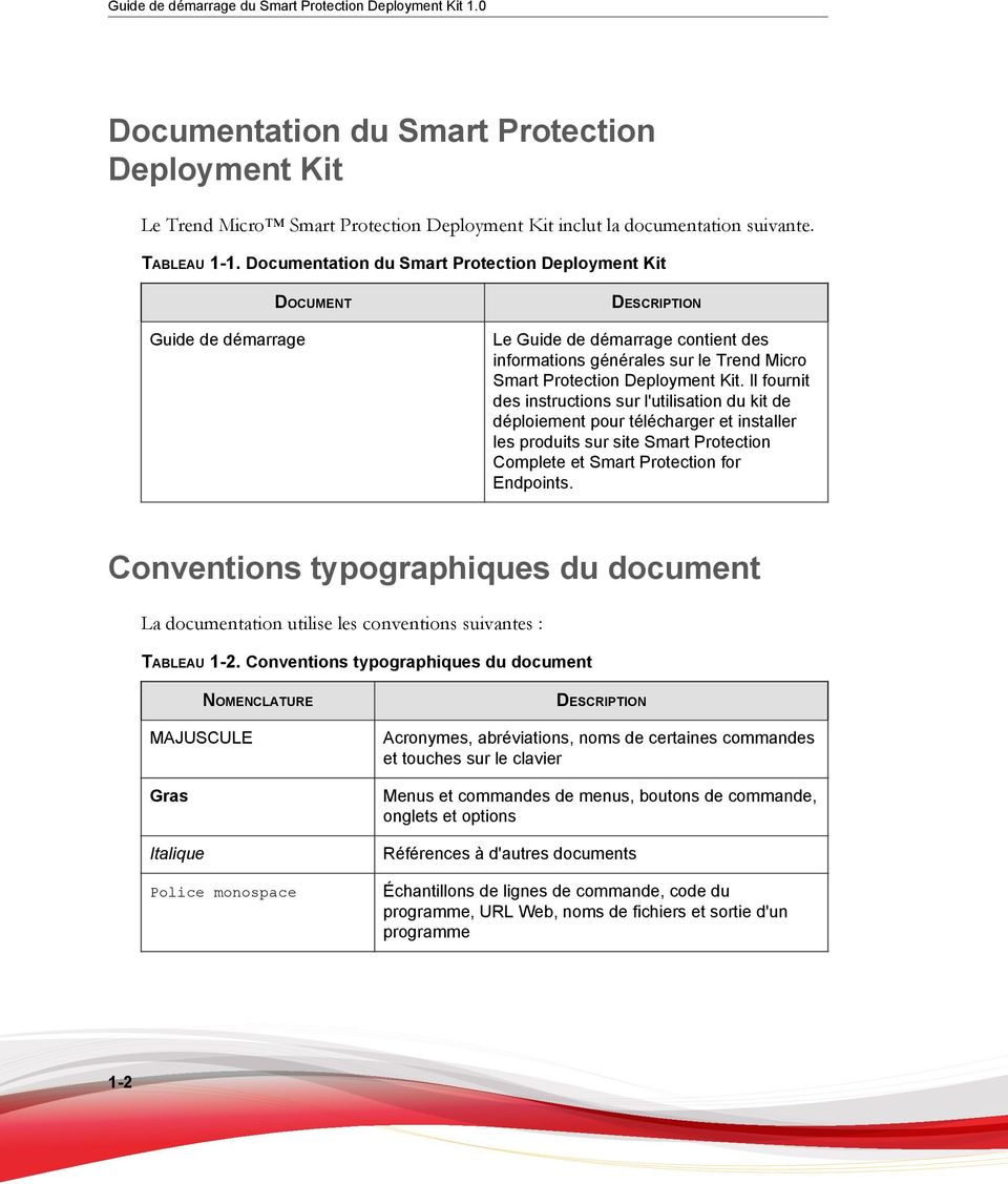 Il fournit des instructions sur l'utilisation du kit de déploiement pour télécharger et installer les produits sur site Smart Protection Complete et Smart Protection for Endpoints.
