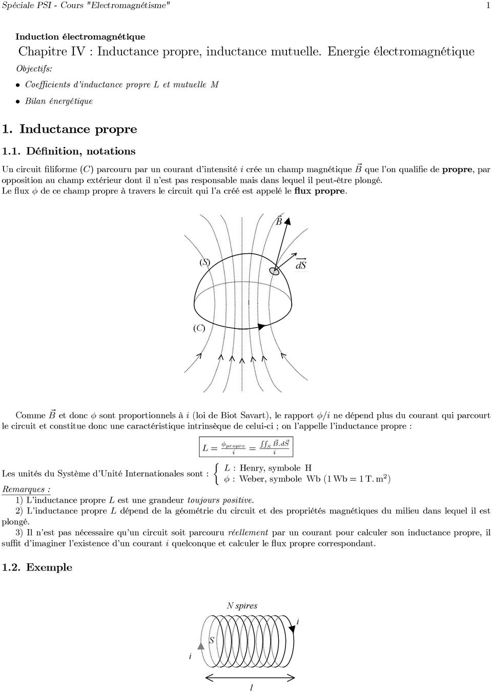Inductance propre 1.