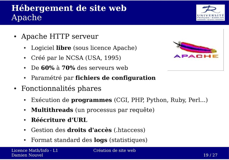 Exécution de programmes (CGI, PHP, Python, Ruby, Perl.
