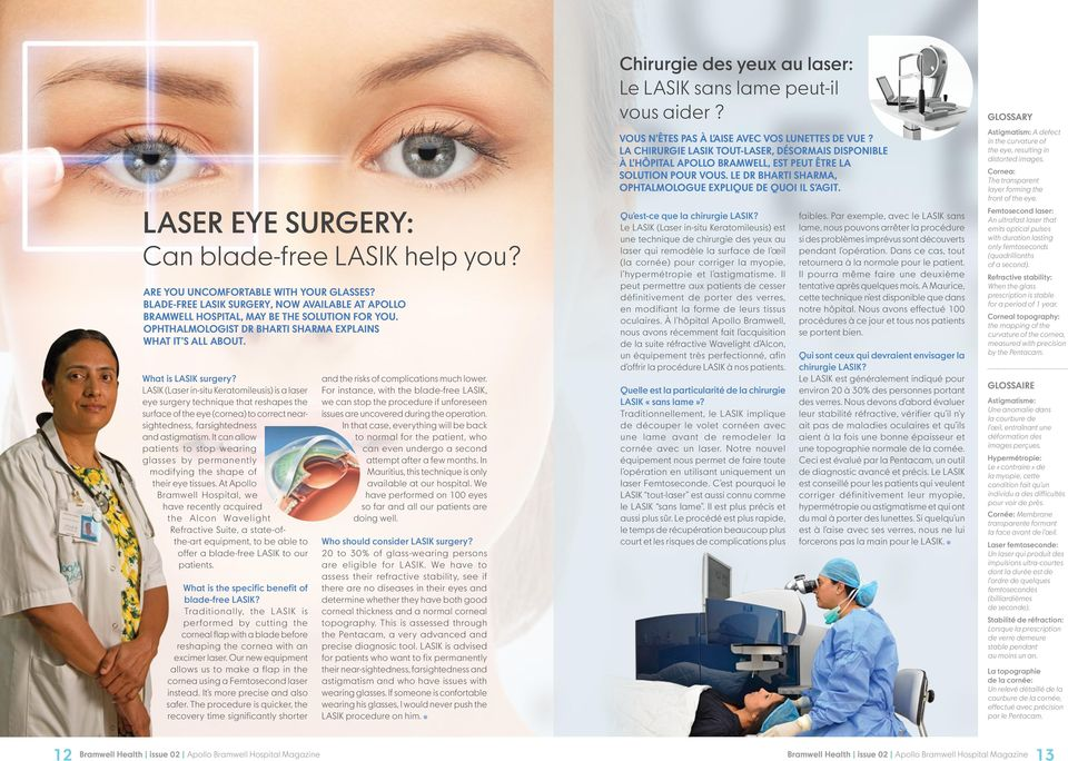 LASIK (Laser in-situ Keratomileusis) is a laser eye surgery technique that reshapes the surface of the eye (cornea) to correct nearsightedness, farsightedness and astigmatism.