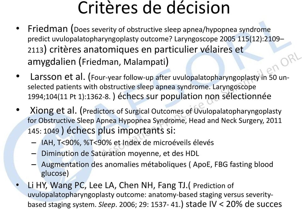 (Four-year follow-up after uvulopalatopharyngoplasty in 50 unselected patients with obstructive sleep apnea syndrome. Laryngoscope 1994;104(11 Pt 1):1362-8.