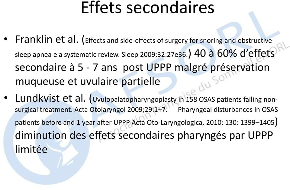 (Uvulopalatopharyngoplasty in 158 OSAS patients failing nonsurgical treatment. Acta Otolaryngol 2009;29:1 7.